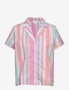 PJ Shirt in Poplin - tops - pink baja stripe
