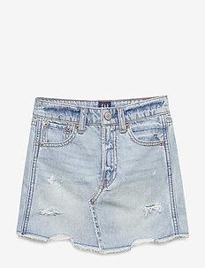 Kids High-Rise Destructed Denim Skirt - skirts - light denim