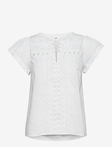 Pintuck Flutter Sleeve Top - short-sleeved blouses - fresh white
