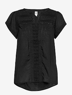 Pintuck Flutter Sleeve Top - short-sleeved blouses - true black
