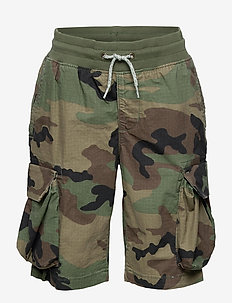 Kids Cargo Pull-On Camo Shorts with Stretch - shorts - stone wash light