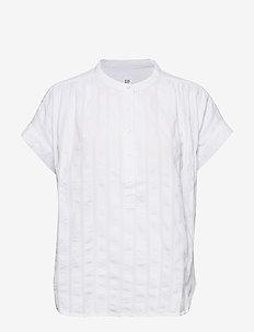 Shirred Popover Shirt - kortärmade blusar - fresh white