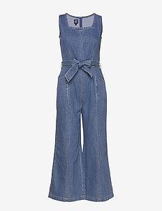 Squareneck Wide-Leg Denim Jumpsuit - kombinezony - medium wash