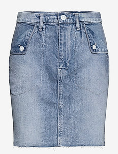 Fold Over Pocket Denim Skirt - denim skirts - medium wash