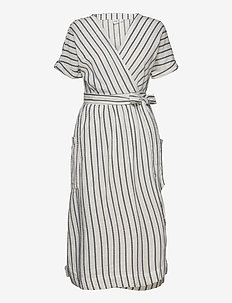 Short Sleeve Wrap-Front Dress in Linen-Cotton - wrap dresses - navy stripe