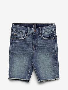 Kids Bermuda High-Rise Denim Shorts - shorts - medium wash