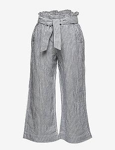 J BELTED CROP WL - hosen - navy white stripe