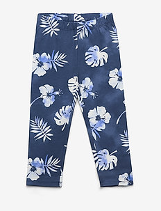 Kids Print Capri Leggings in Stretch Jersey - leggings - blue floral
