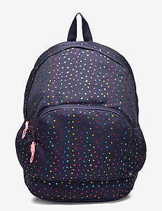 Kids Heart Print Senior Backpack - reput - navy uniform