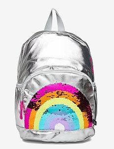 Kids Flippy Sequin Graphic Rainbow Junior Backpack - reput - silver metallic