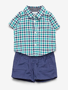 Baby Plaid Outfit Set - shirts - green mirage