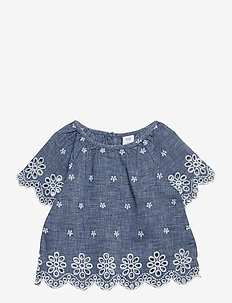Toddler Chambray Eyelet Flutter Top - blusen & tuniken - blue chambray