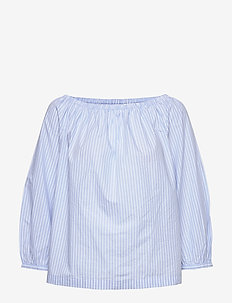 Off The Shoulder Top in Poplin - långärmade blusar - blue stripe