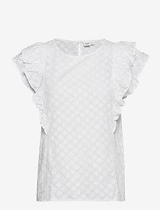 Ruffle Sleeve Top - short-sleeved blouses - fresh white