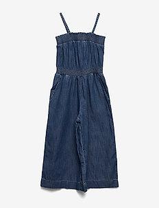 Denim Wide Leg Crop Jumpsuit - kombinezon - deep blue wash