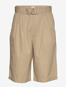 High Rise Belted Bermuda Shorts - bermudas - new sand