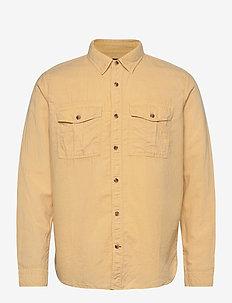 Linen-Cotton Utility Shirt Jacket - tops - havana yellow