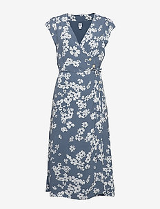 Wrap-Front Midi Dress - wrap dresses - blue floral