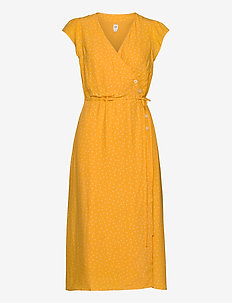 Wrap-Front Midi Dress - wrap dresses - yellow dot