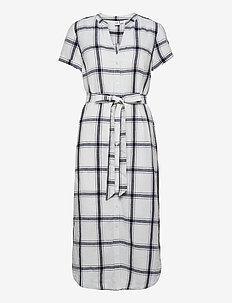 Midi Shirtdress in Linen-Cotton - midi dresses - navy windowpane