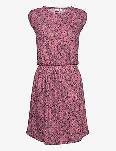 Short Sleeve Pleated Waist Dress - korte jurken - pink floral 1