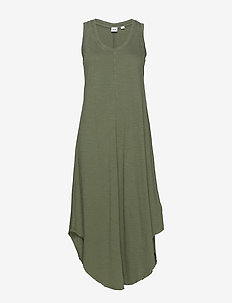 Scoopneck Midi Dress - midiklänningar - olive 005