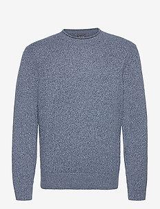 Wool Roll Neck Sweater - okrągły dekolt - blue heather