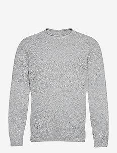 Wool Roll Neck Sweater - knitted round necks - light grey marle