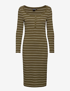 Henley Midi Dress - sukienki do kolan i midi - green stripe