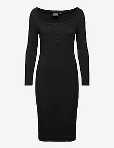 Henley Midi Dress - sukienki do kolan i midi - true black v2 3