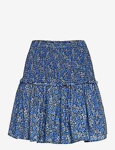 Smocked Tiered Mini Skirt - korte rokken - blue floral