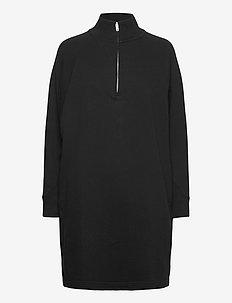 Half-Zip Front Dress - midiklänningar - true black v2 2