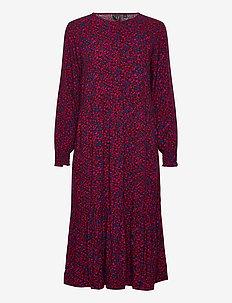Henley Midi Dress - midi dresses - burgundy floral