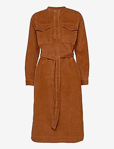 LS CORD SHIRTDRESS - shirt dresses - chestnut 616