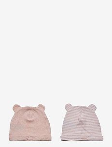 Baby First Favorite Stripe Bear Hat (2-Pack) - PINK HEATHER