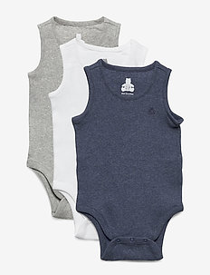 Baby First Favorite Ribbed Tank Bodysuit (3-Pack) - body - navy heather