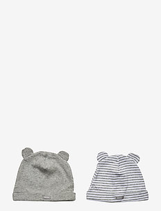 Baby First Favorite Stripe Bear Hat (2-Pack) - LIGHT HEATHER GREY B10