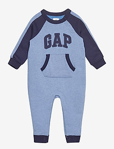 Baby Gap Logo One-Piece - long-sleeved - indigo heather b0821