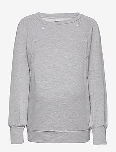 Maternity Nursing Snap-Button Sweatshirt - sweats - light heather grey