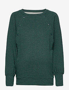 Maternity Nursing Snap-Button Sweatshirt - swetry - pine green