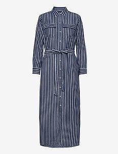 LS DRAPEY SHIRTDRS -STP - maxi dresses - blue stripe combo s