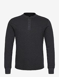 Slub Henley T-Shirt - basic t-shirts - moonless night