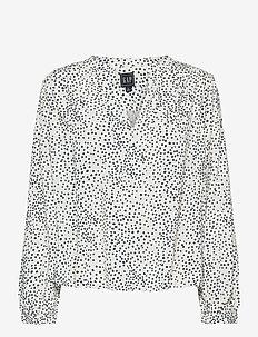 Print Blouse - long sleeved blouses - ivory navy dot