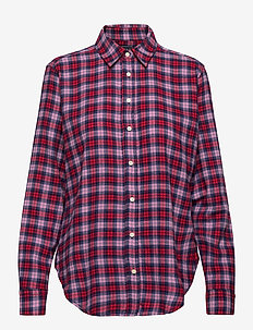 Everyday Flannel Shirt - long-sleeved shirts - navy pink plaid