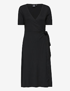 Front Wrap Midi Dress - robes midi - true black v2 2