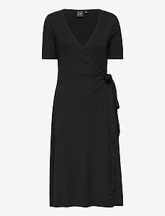 Front Wrap Midi Dress - midiklänningar - true black v2 2