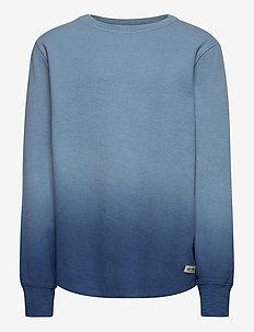 Kids Waffle-Knit Slub Shirt - dlugi-rekaw - ombre gradient blue