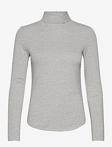 Fitted Funnel-Neck T-Shirt - long-sleeved tops - heather grey