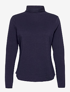 Fitted Funnel-Neck T-Shirt - long-sleeved tops - navy uniform
