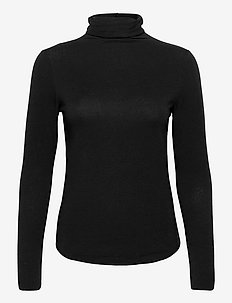 Fitted Funnel-Neck T-Shirt - long-sleeved tops - true black